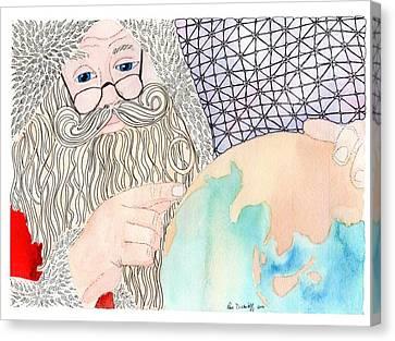 Santa Is Planning Canvas Print by Paula Dickerhoff