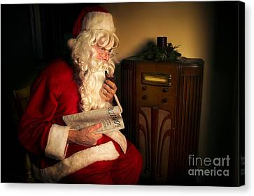 Santa Listening To The Weather Report Canvas Print