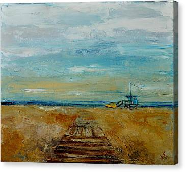 Canvas Print featuring the painting Santa Monica Boardwalk by Lindsay Frost