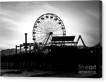Roller Coaster Canvas Print - Santa Monica Ferris Wheel Black And White Photo by Paul Velgos