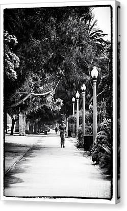 Jogging Canvas Print - Santa Monica Jogging by John Rizzuto