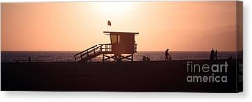 Santa Monica Lifeguard Tower Panorama Photo Canvas Print