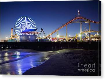 Santa Monica Pier At Night Canvas Print
