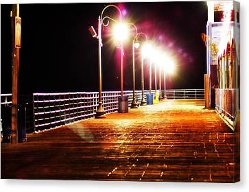 Santa Monica Pier At Night Canvas Print
