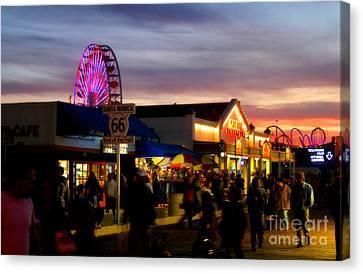Santa Monica Pier At Sunset Canvas Print by Diana Sainz