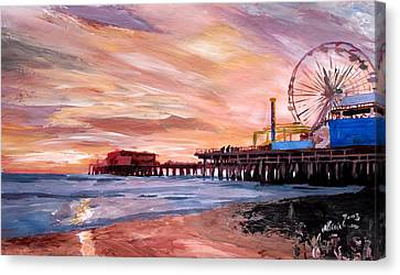 Giclee On Canvas Print - Santa Monica Pier At Sunset by M Bleichner