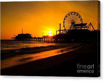 Roller Coaster Canvas Print - Santa Monica Pier California Sunset Photo by Paul Velgos