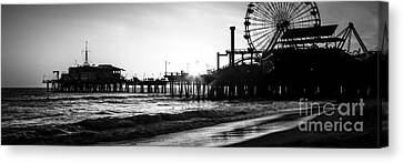 Santa Monica Pier Panorama Black And White Photo Canvas Print