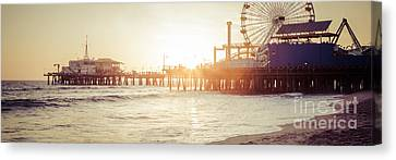 Santa Monica Pier Retro Sunset Panorama Photo Canvas Print