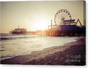 Santa Monica Pier Retro Sunset Picture Canvas Print