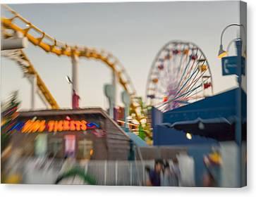 Santa Monica Pier Ride Entrance Canvas Print by Scott Campbell