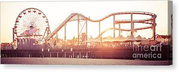 Santa Monica Pier Roller Coaster Panorama Photo Canvas Print by Paul Velgos