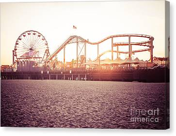 Santa Monica Pier Roller Coaster Retro Photo Canvas Print