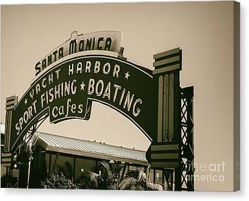 Santa Monica Pier Sign Canvas Print by David Millenheft