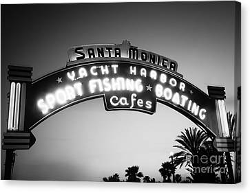 Santa Monica Pier Sign In Black And White Canvas Print by Paul Velgos