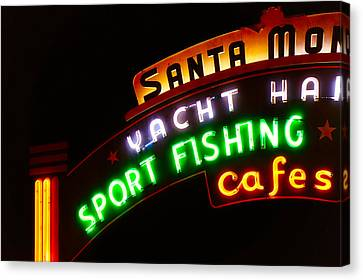 Canvas Print featuring the photograph Santa Monica Pier Sign by Michael Hope