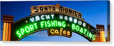 Santa Monica Pier Sign Panorama Picture Canvas Print