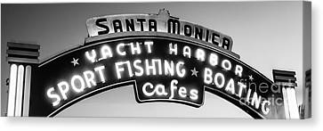 Santa Monica Pier Sign Panoramic Black And White Photo Canvas Print