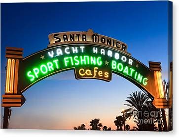 Entrances Canvas Print - Santa Monica Pier Sign by Paul Velgos