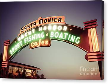 Santa Monica Pier Sign Retro Photo Canvas Print