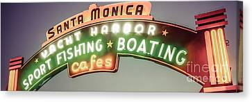 Santa Monica Pier Sign Vintage Panoramic Photo Canvas Print