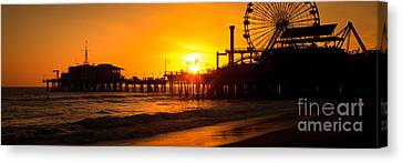Santa Monica Pier Sunset Panorama Photo Canvas Print by Paul Velgos