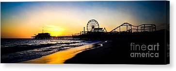 Santa Monica Pier Sunset Panoramic Photo Canvas Print by Paul Velgos