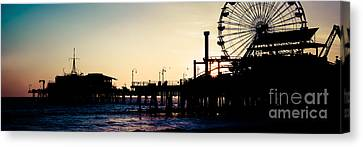 Santa Monica Pier Sunset Retro Panoramic Photo Canvas Print