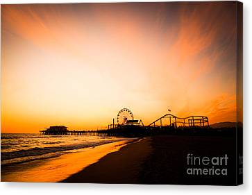 Roller Coaster Canvas Print - Santa Monica Pier Sunset Southern California by Paul Velgos