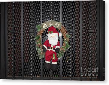 Santa On A Metal Grate Canvas Print by Thomas Marchessault