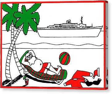 Santa On Vacation Canvas Print by Genevieve Esson