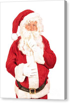 Father Christmas Canvas Print - Santa Saying Shush by Amanda Elwell
