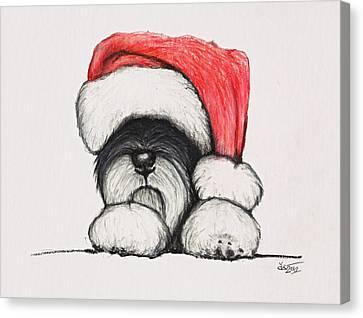 Puppies Canvas Print - Santa Schnauzer by Katerina A Cechova