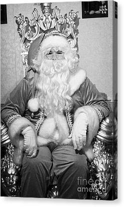 Santa Sitting On His Throne In Grotto Set Up  Canvas Print
