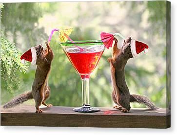 Santa Squirrels Celebrating Christmas Canvas Print