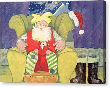 Santa Warming His Toes  Canvas Print by David Cooke
