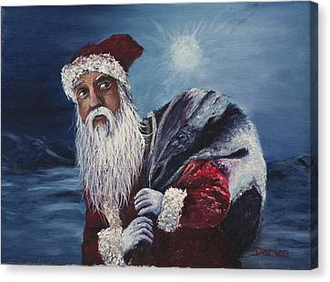 Santa With His Pack Canvas Print by Darice Machel McGuire