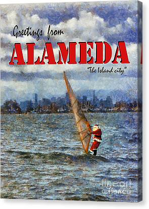 Alameda Santa's Greetings Canvas Print by Linda Weinstock