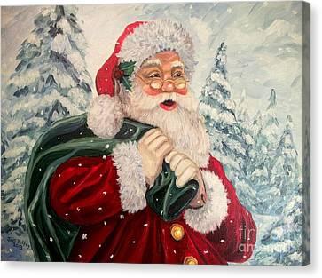 Santa's On His Way Canvas Print by Julie Brugh Riffey