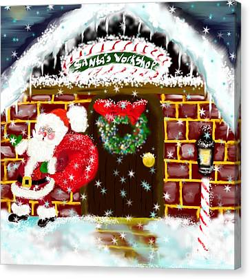 Canvas Print featuring the painting Santa's Workshop by Lori  Lovetere