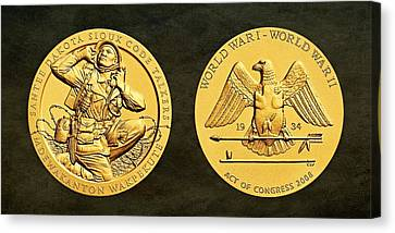 Santee Sioux Tribe Code Talkers Bronze Medal Art Canvas Print by Movie Poster Prints
