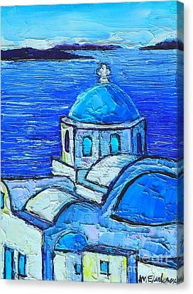 Santorini  Blue Canvas Print by Ana Maria Edulescu