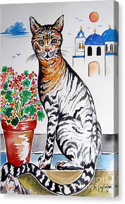 Santorini Cat 1 Canvas Print by Roberto Gagliardi