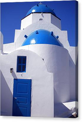 Canvas Print featuring the photograph Santorini Church  by Colette V Hera  Guggenheim