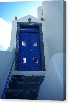 Santorini Door  To Heaven  Canvas Print