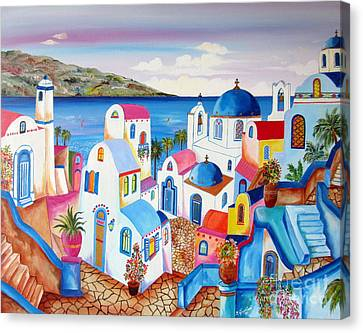 Santorini Greece Canvas Print by Roberto Gagliardi