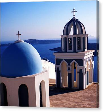 Canvas Print featuring the photograph Santorini  Island Church Greece  by Colette V Hera  Guggenheim