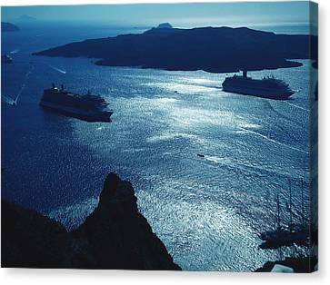 Canvas Print featuring the photograph Santorini  Silent Night View Greece by Colette V Hera  Guggenheim