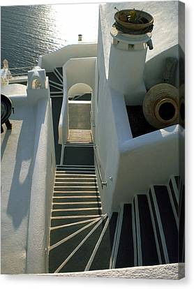Canvas Print featuring the photograph Santorini Stairs by Colette V Hera  Guggenheim