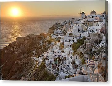 Greek Icon Canvas Print - Santorini Sunset by Christian Heeb